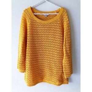 LOFT Yellow Mustard Scoop Neck Sweater | Sz L